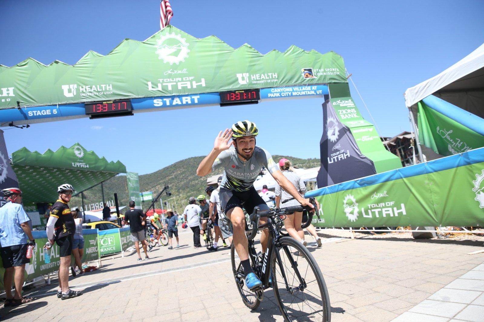 Arapahoe-Hincapie rider in good spirits before the start.