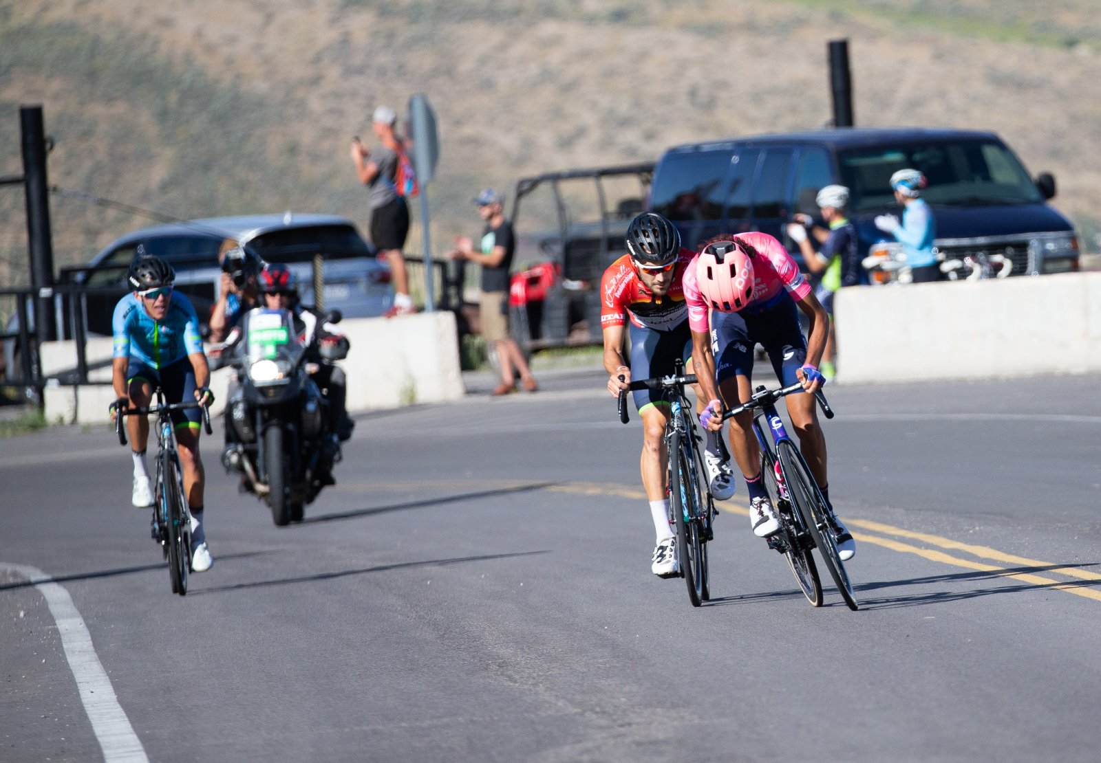 Lachlan attacks mulitple times up the climb but could not shake off McCormick.