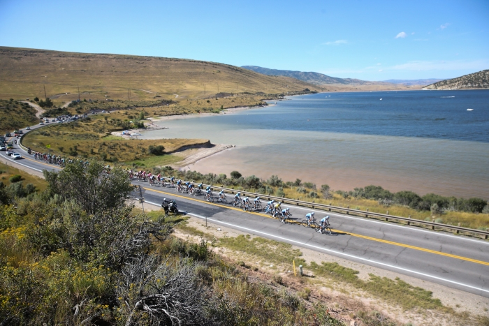 The peloton loops Wanship and passes Rockport for the second time in the opposite direction.