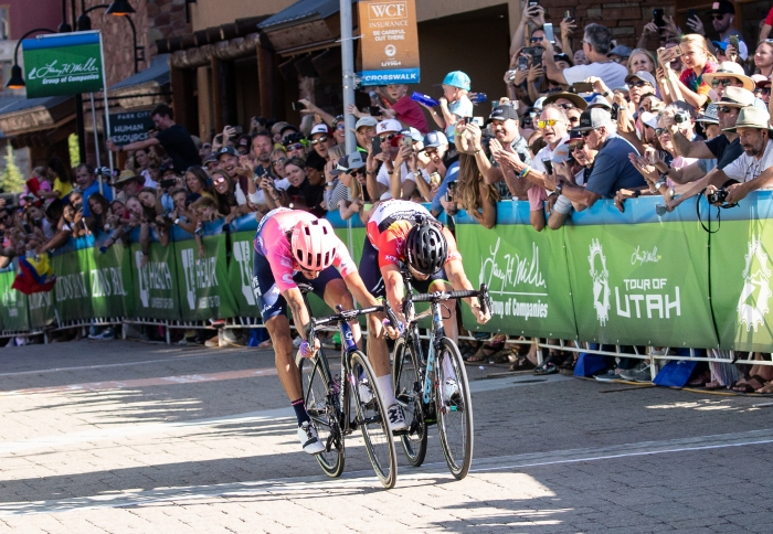 A photo finish. Lachlan takes the win by a hair.