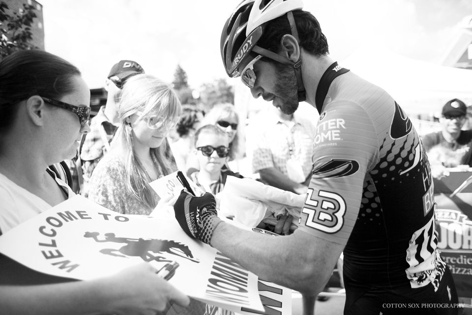 Signing in at the beginning of Stage 5 of the 2014 Tour of Utah