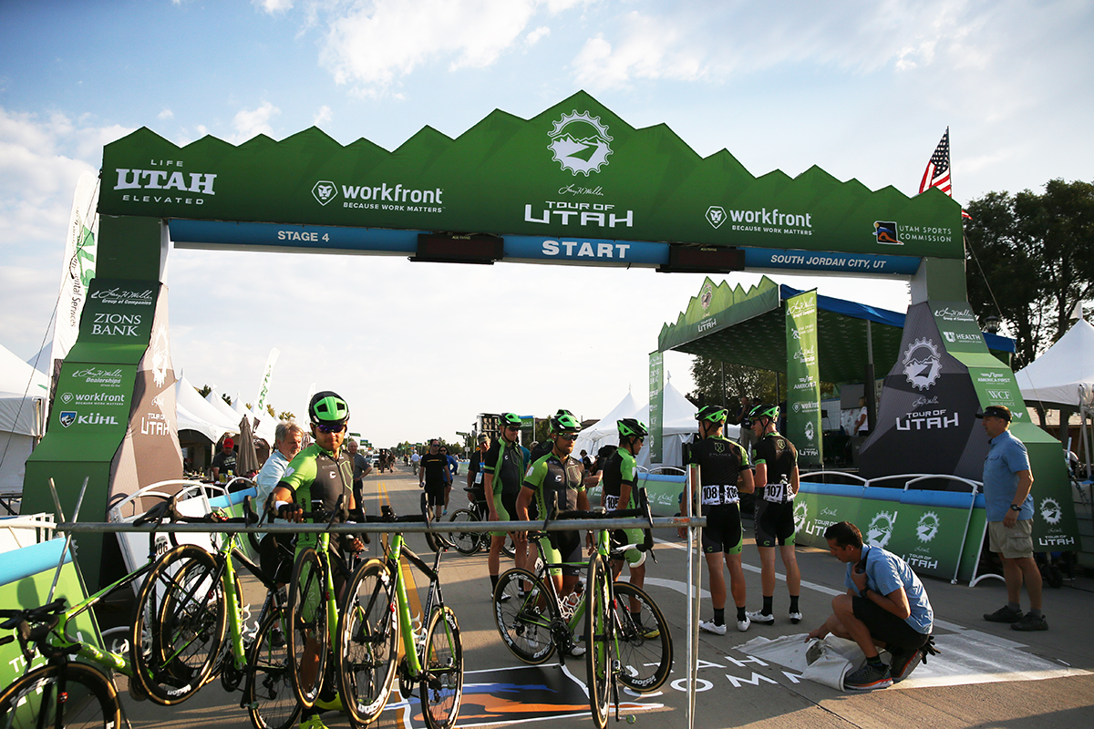 Getting ready for the start. Stage 4 of the 2017 Tour of Utah, South Jordan to Cedar Fort and back to South Jordan, Photo by Cathy Fegan-Kim, cottonsoxphotography.net