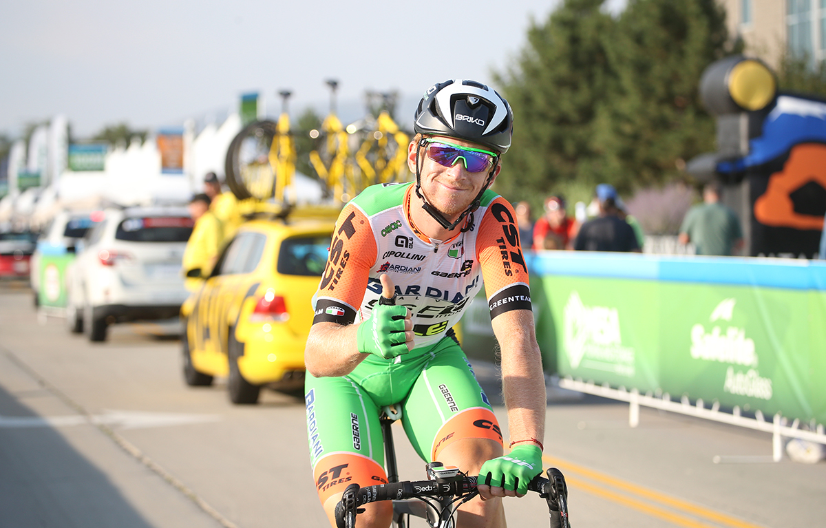 Thumbs up! Stage 4 of the 2017 Tour of Utah, South Jordan to Cedar Fort and back to South Jordan, Photo by Cathy Fegan-Kim, cottonsoxphotography.net