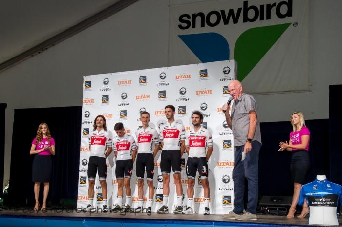 Trek-Segafredo riders. Team Presentation at Snowbird, 2019 LHM Tour of Utah (Photo by Dave Richards, daverphoto.com)