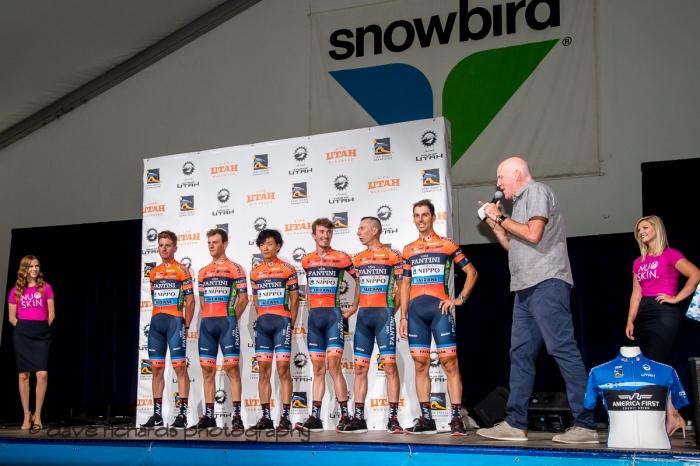 Nippo-Vini Fantini-Faizane riders. Team Presentation at Snowbird, 2019 LHM Tour of Utah (Photo by Dave Richards, daverphoto.com)