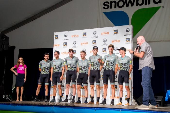 Arapahoe|Hincapie Powered by BMC riders. Team Presentation at Snowbird, 2019 LHM Tour of Utah (Photo by Dave Richards, daverphoto.com)