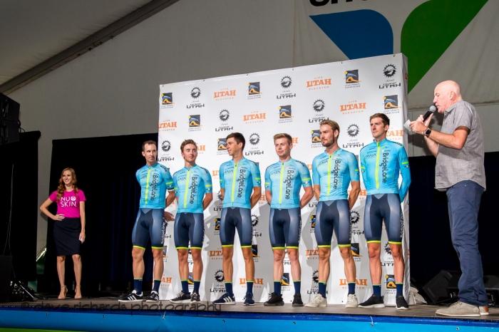 Team Bridgelane riders. Team Presentation at Snowbird, 2019 LHM Tour of Utah (Photo by Dave Richards, daverphoto.com)