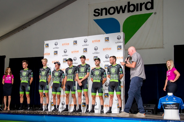Worthy Pro Cycling riders. Team Presentation at Snowbird, 2019 LHM Tour of Utah (Photo by Dave Richards, daverphoto.com)