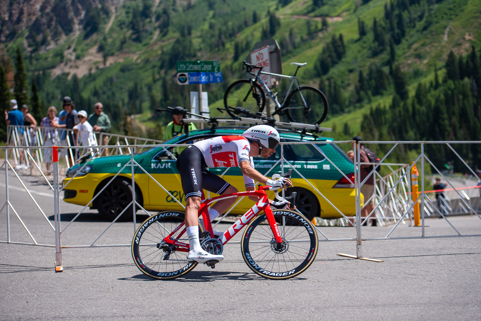 Nicholas DeBeaumarché (Trek-Segafredo) rounds the hairpin at the bottom of the Prologue course. 2019 Tour of Utah. Photo by Steven L. Sheffield