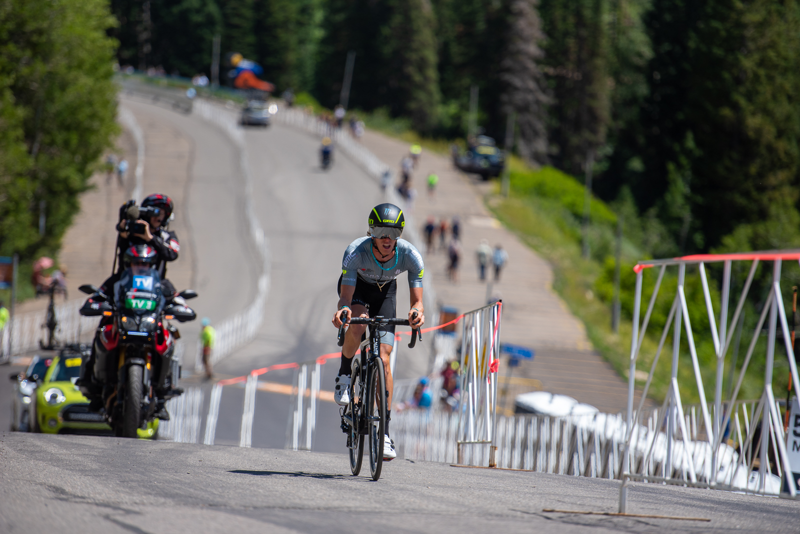 TJ Eisenhart (Arapahoe-Hincapie p/b BMC) starts his Prologue time trial. 2019 Tour of Utah. Photo by Steven L. Sheffield
