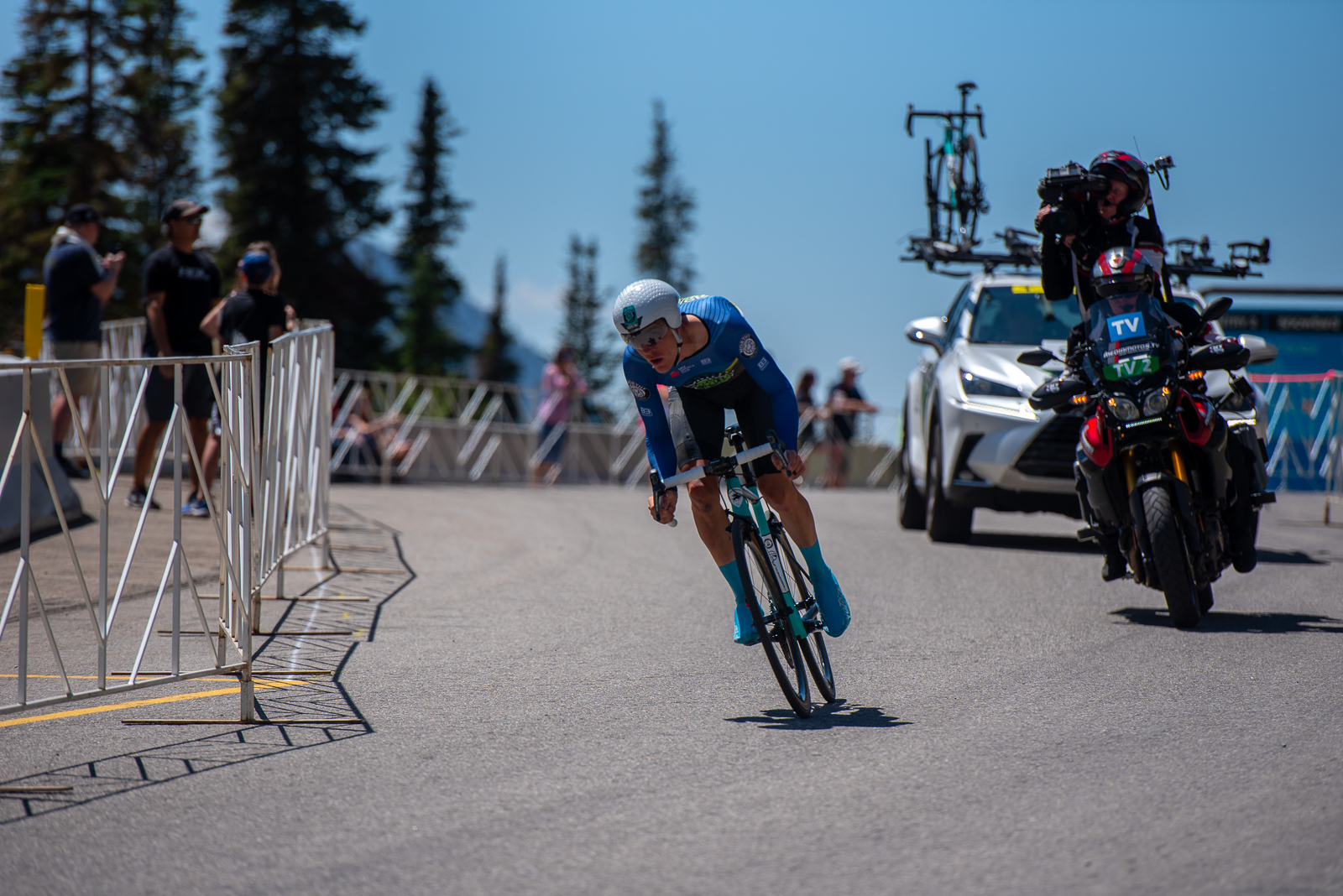 Sergei Tvetcov (Worthy Pro Cycling) on the final descent during the Prologue time trial. 2019 Tour of Utah. Photo by Steven L. Sheffield