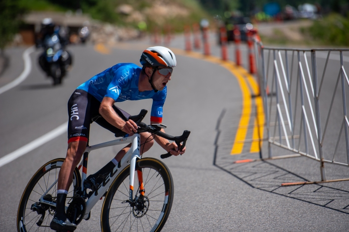 Early leader Kyle Murphy (Rally UHC Cycling) during the Prologue time trial. 2019 Tour of Utah. Photo by Steven L. Sheffield