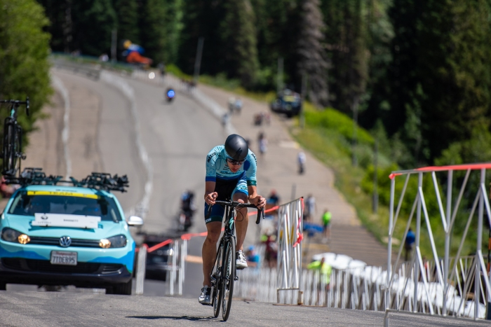 George Simpson (Elevate KHS) during the Prologue time trial. 2019 Tour of Utah. Photo by Steven L. Sheffield