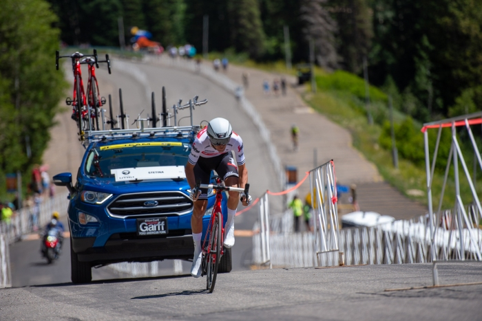 Peter Stetina (Trek Segafredo) during the Prologue time trial. 2019 Tour of Utah. Photo by Steven L. Sheffield