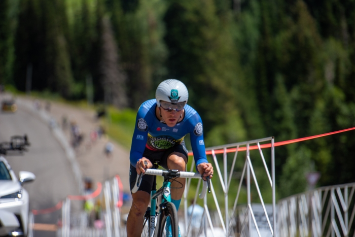 Sergei Tvetcov (Worthy Pro Cycling) during the Prologue time trial. 2019 Tour of Utah. Photo by Steven L. Sheffield