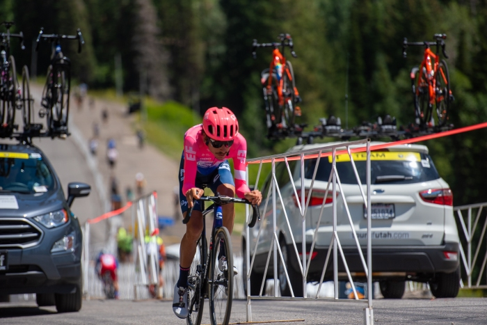 2016 Tour of Utah winner Lachlan Morton (EF Education First) during the Prologue time trial. 2019 Tour of Utah. Photo by Steven L. Sheffield