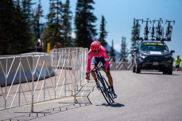 Lachlan Morton (EF Education First) on the final descent of the Prologue time trial. 2019 Tour of Utah. Photo by Steven L. Sheffield