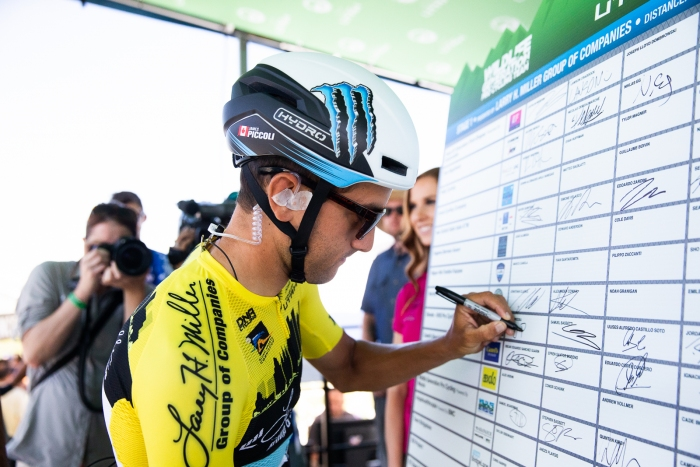 GC Leader James Piccoli (Elevate KHS) signs in for Stage 1. Photo: Cathy Fegan-Kim