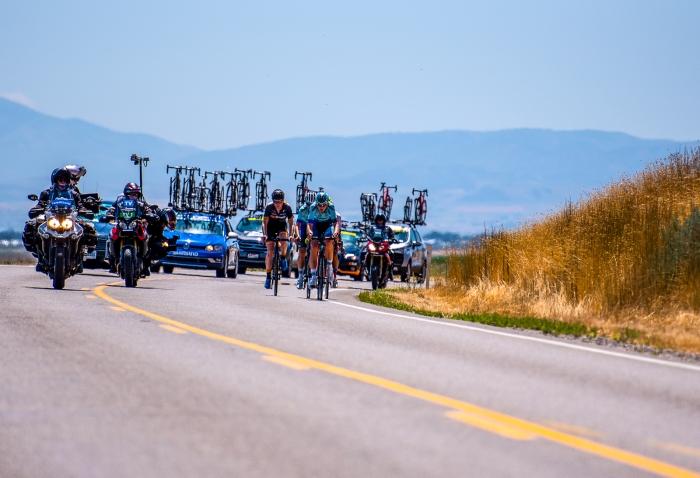 The early break on Utah State Road 23 outside Newton, Utah. Stage 1, 2019 Tour of Utah. Photo by Steven L. Sheffield