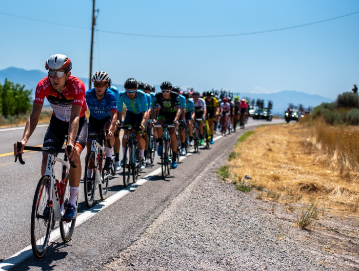 Kyle Murphy (Rally UHC Cycling) sits well protected in the peloton. Stage 1, 2019 Tour of Utah. Photo by Steven L. Sheffield