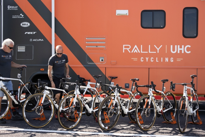 All the Rally UHC Cycling team bikes lined up outside their bus. Stage 2, 2019 Tour of Utah. Photo by Cathy Fegan-Kim