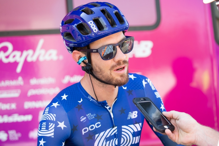 Alex Howes (EF Education First) being interviewed before Stage 2, 2019 Tour of Utah. Photo by Cathy Fegan-Kim