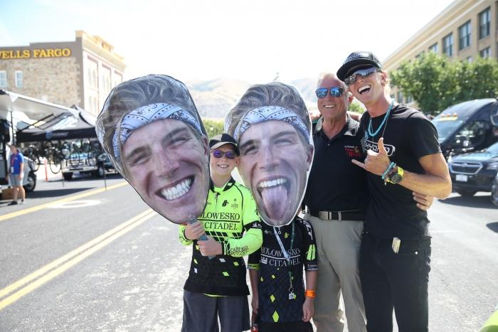 TJ Eisenhart (Araphoe-Hincapie p/b BMC) and family. Stage 2, 2019 Tour of Utah. Photo by Cathy Fegan-Kim
