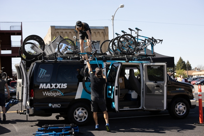 Elevate KHS getting ready for Stage 2, 2019 Tour of Utah. Photo by Cathy Fegan-Kim