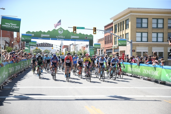 And they're off! Stage 2, 2019 Tour of Utah. Photo by Cathy Fegan-Kim