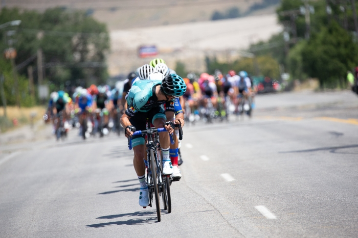 How much of a gap do we have? Stage 2, 2019 Tour of Utah. Photo by Cathy Fegan-Kim