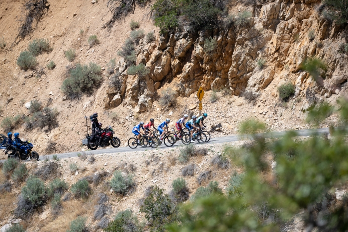 A break finally gets away, and leads the way up North Ogden Divide. Stage 2, 2019 Tour of Utah. Photo by Cathy Fegan-Kim