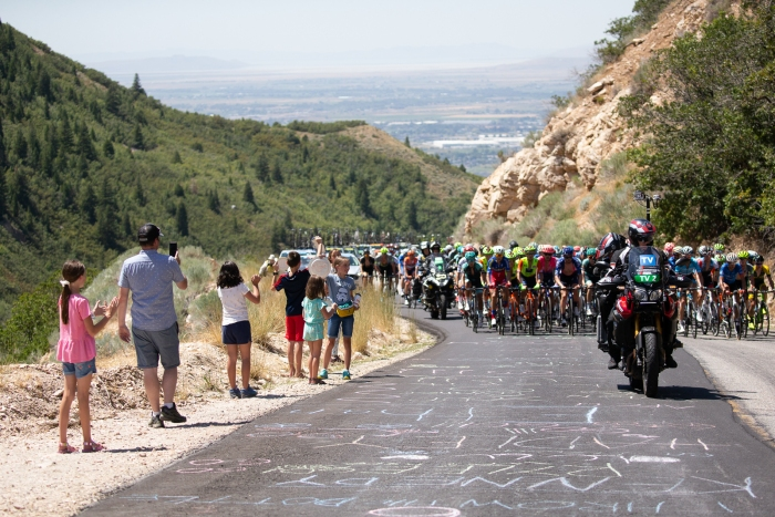 The chase is spread across the road. Stage 2, 2019 Tour of Utah. Photo by Cathy Fegan-Kim
