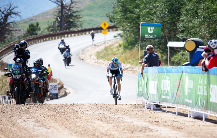 Ben Hermans (Israel Cycling Academy) hits the gravel 300 meters before the line to take the solo win. Stage 2, 2019 Tour of Utah. Photo by Cathy Fegan-Kim