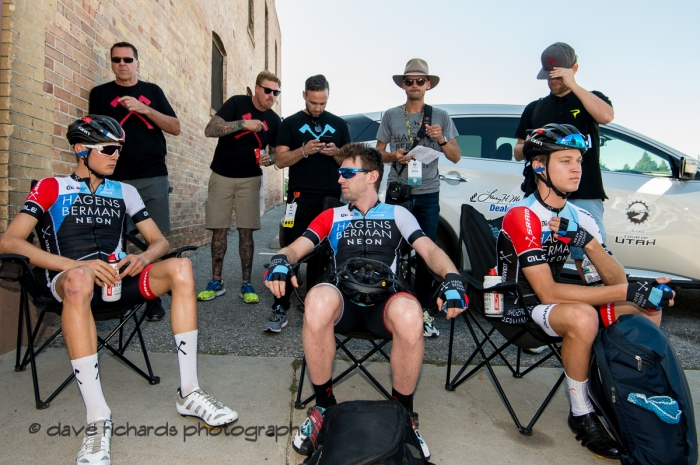 Hagens Berman Axeon chillin' before the start of Stage 2 - Brigham City to Powder Mountain Resort, 2019 LHM Tour of Utah (Photo by Dave Richards, daverphoto.com)