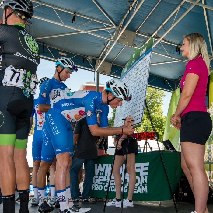 Team Dauner|Akkon riders signing in before Stage 2 - Brigham City to Powder Mountain Resort, 2019 LHM Tour of Utah (Photo by Dave Richards, daverphoto.com)