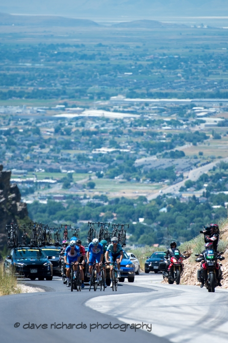 Early breakaway riders on the steep climb up North Ogden Pass. Stage 2 - Brigham City to Powder Mountain Resort, 2019 LHM Tour of Utah (Photo by Dave Richards, daverphoto.com)