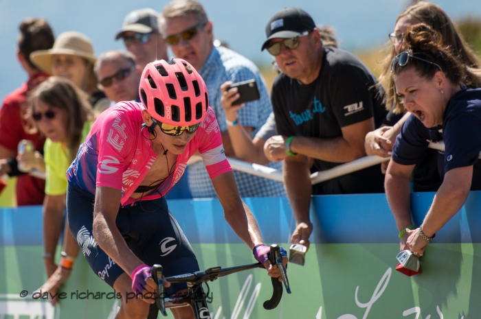 The cheering fans don't ease the pain for Joe Dombrowksi (EF Education First) as he finishes Stage 2 - Brigham City to Powder Mountain Resort, 2019 LHM Tour of Utah (Photo by Dave Richards, daverphoto.com)