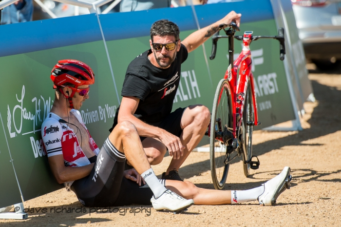 Peter Stetina (Trek-Segafredo) recuperates at the finish after launching an aggressive attack on the climb that in the end woudn't stick. Stage 2 - Brigham City to Powder Mountain Resort, 2019 LHM Tour of Utah (Photo by Dave Richards, daverphoto.com)