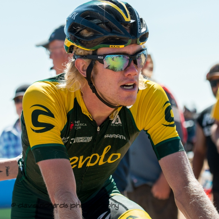 Aevolo rider catches his breath after Stage 2 - Brigham City to Powder Mountain Resort, 2019 LHM Tour of Utah (Photo by Dave Richards, daverphoto.com)