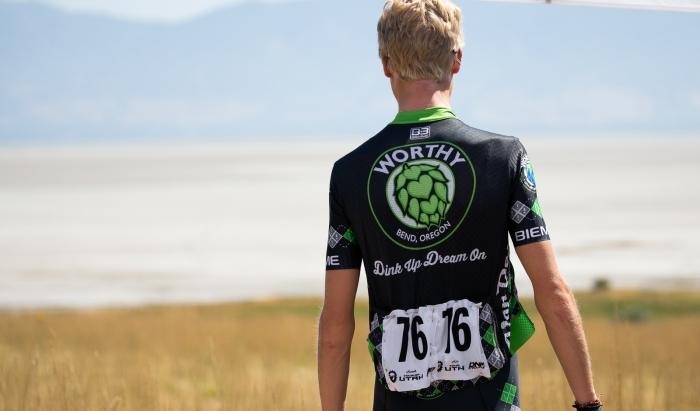 Keegan Swirbul (Worthy) taking in the Great Salt Lake. Stage 3 of the 2019 Tour of Utah. Photo by Cathy Fegan-Kim