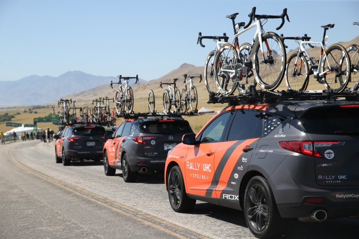Rally UHC arrives at the Stage 3 Start on Antelope Island. Stage 3 of the 2019 Tour of Utah. Photo by Cathy Fegan-Kim