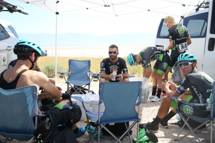 Jonathan Clarke and his team chills before the stage start. Stage 3 of the 2019 Tour of Utah. Photo by Cathy Fegan-Kim