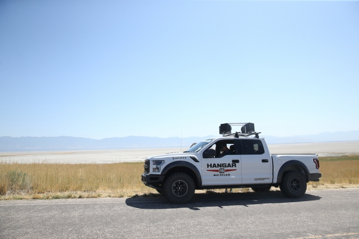The Hangar 15 roving announcers vehicle. Stage 3 of the 2019 Tour of Utah. Photo by Cathy Fegan-Kim