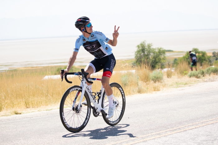Peace. WCF Insuarance Best Young Rider - Joao Almeida of Hagens Berman Axeon. Stage 3 of the 2019 Tour of Utah. Photo by Cathy Fegan-Kim