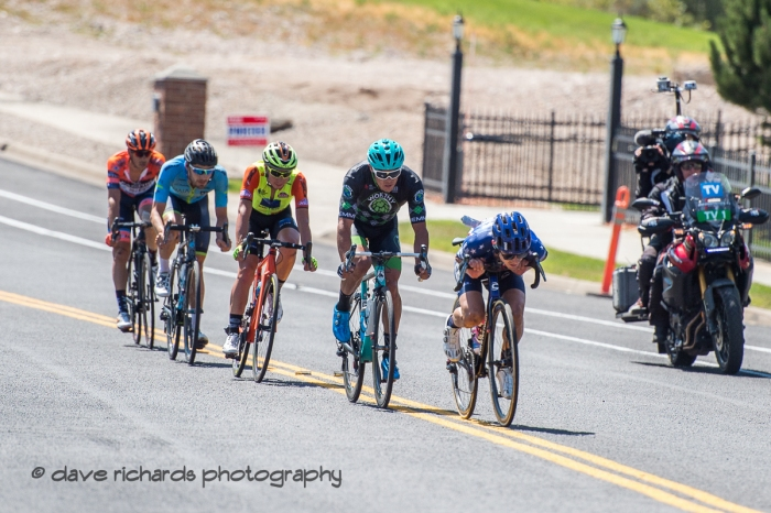 Alex Howes (EF Education First) tucks in tight leading the breakaway on the 1st of 3 final circuits on Stage 3 - Antelope Island State Park to North Salt Lake City, 2019 LHM Tour of Utah (Photo by Dave Richards, daverphoto.com)