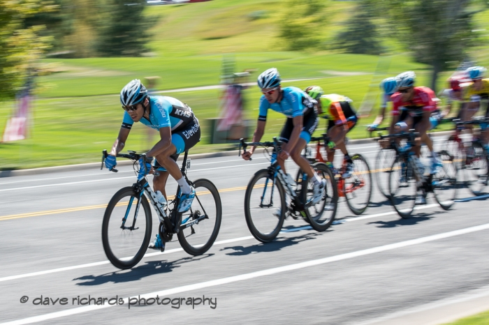 The pace quickens as the pack tries to close the gap to the breakaway. Stage 3 - Antelope Island State Park to North Salt Lake City, 2019 LHM Tour of Utah (Photo by Dave Richards, daverphoto.com)
