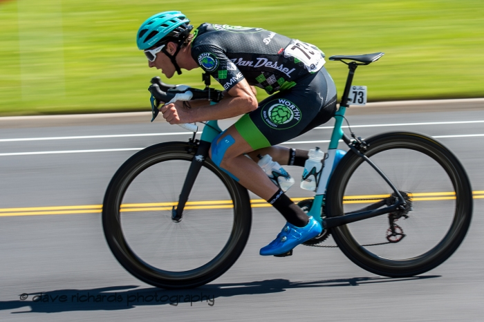 Noah Granigan (Worthy Pro Cycling) is full on aero chasing maximum speed. Stage 3 - Antelope Island State Park to North Salt Lake City, 2019 LHM Tour of Utah (Photo by Dave Richards, daverphoto.com)