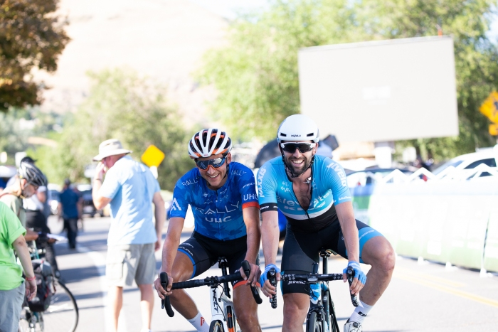 Riders goofing around. Stage 4, 2019 Tour of Utah. Photo by Cathy Fegan-Kim