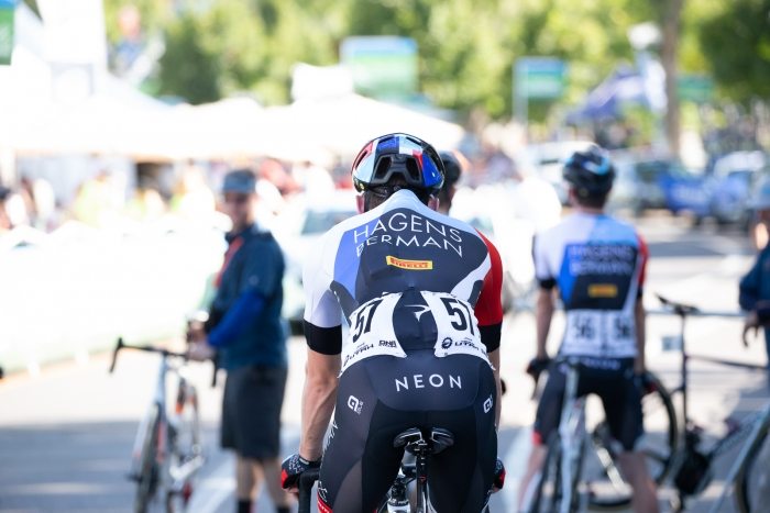 Another hot day calls for ice socks and the hunch back look. Stage 4, 2019 Tour of Utah. Photo by Cathy Fegan-Kim