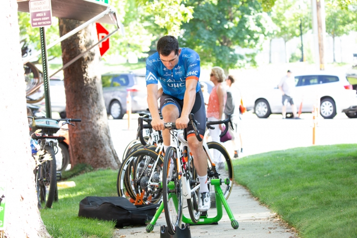 Ty Magner warms up for Stage 4. Stage 4, 2019 Tour of Utah. Photo by Cathy Fegan-Kim